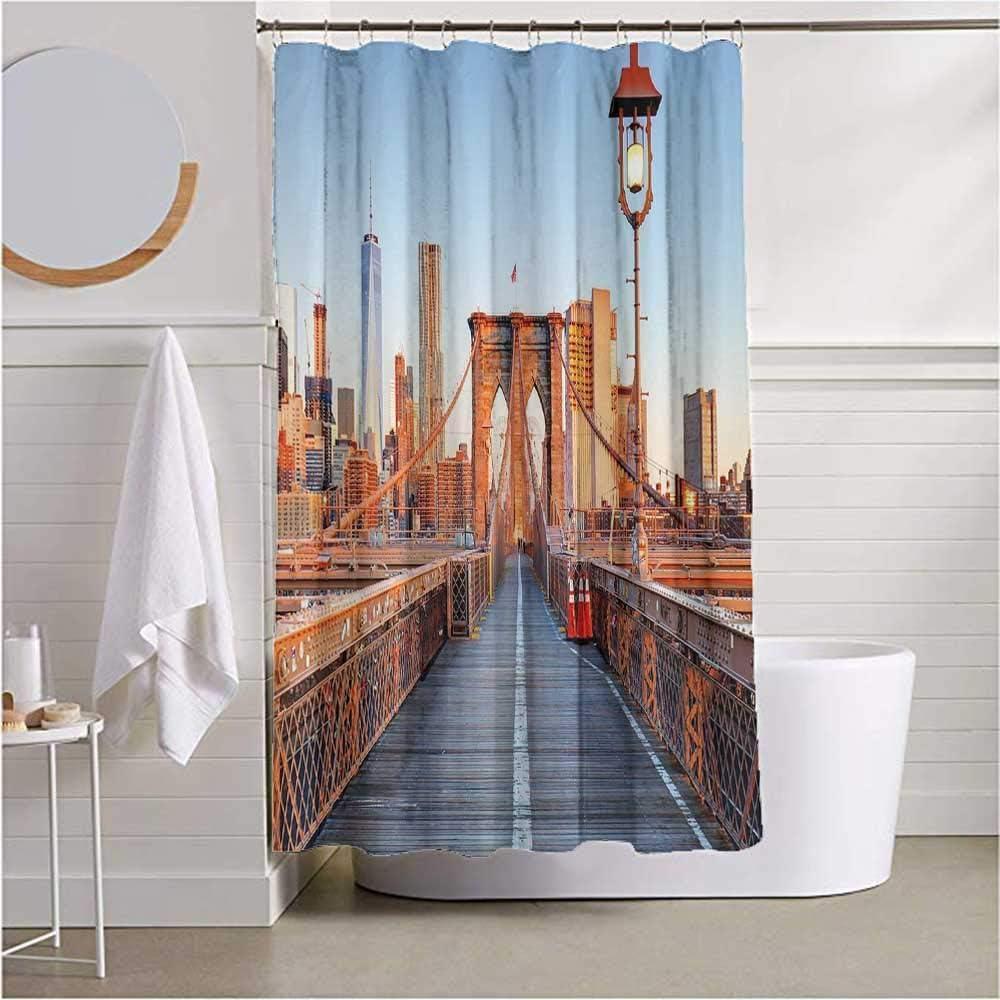 ScottDecor Bathroom Curtains Rings CityNew York Skyline Closeup Brooklyn Bridge in Manhattan Over Hudson River Machine Washable Orange Pale Blue Grey W72 x L84 inch