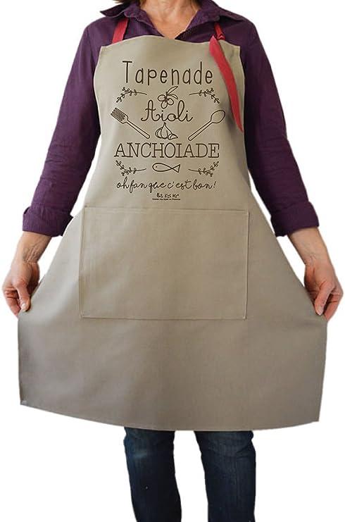 Kss Kss Kss Chef Tablier Cuisine Femme Provence Couleur Taupe