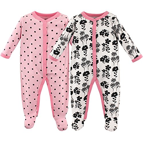 Luvable Friends Baby Cotton Snap Sleep and Play, Floral 2 Pack, 0-3 Months