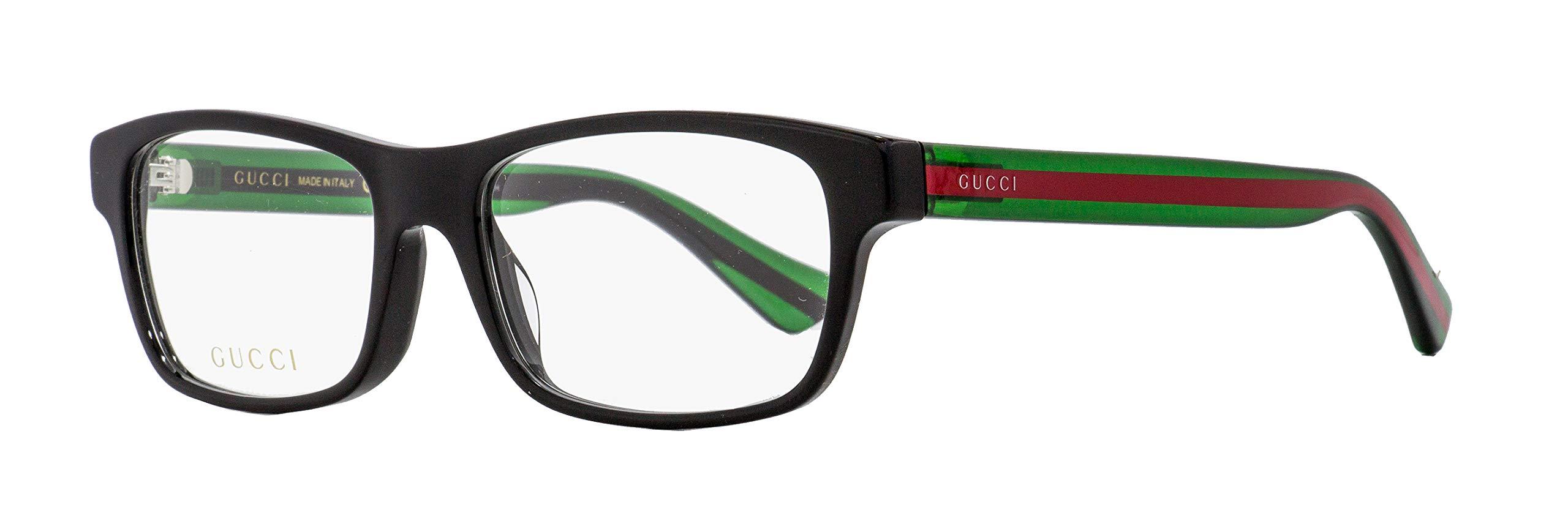 Gucci GG 0006O 006 Black/Green Plastic Rectangle Eyeglasses 55mm by Gucci