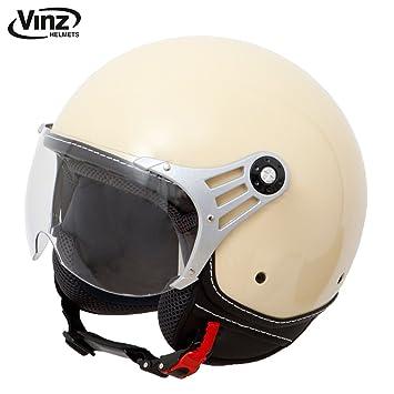 Casco moderno de moto Vinz, tipo jet, color crema en tallasXS - M,