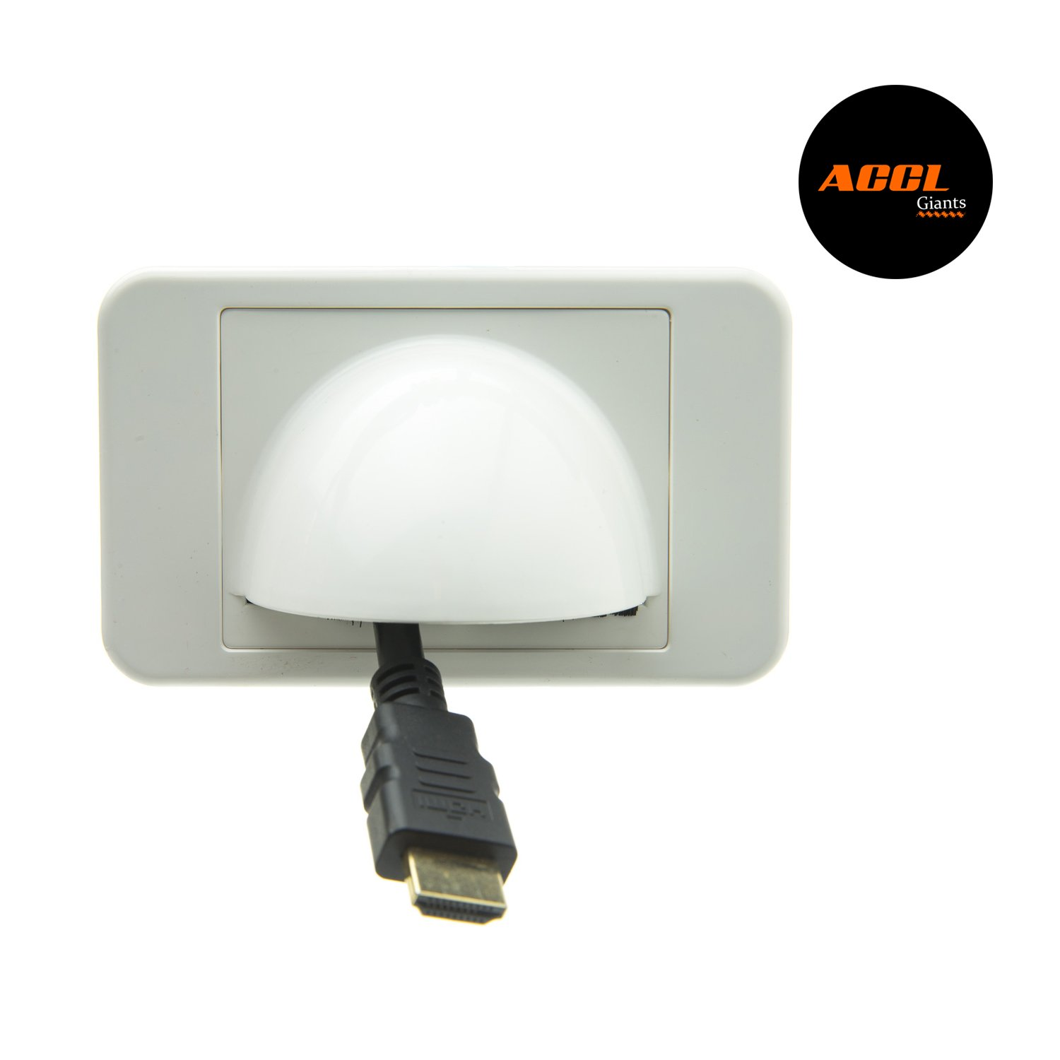 ACCL Wall Plate Insert, White with Brush Cable Pass Through for Home/Office or Hotel, 3 Pack