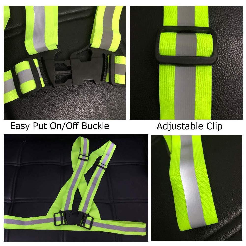 WENTS Chaleco de Seguridad Reflectante Moto 2PCS Alta Visibilidad Tirantes Reflectantes de Seguridad El/ástica Ajustable Accesorios de Seguridad para Adultos y Ni/ños
