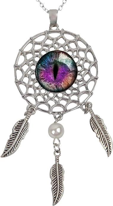 1 chain pendant dragon eye cat eye blue violet purple ponk dark silver colored playful sweet charm gift handmade
