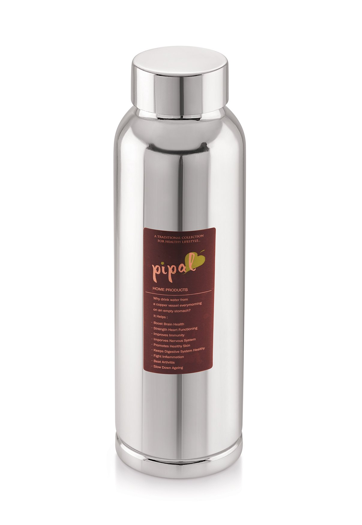 Pipal, Caliber Pure Copper Water Bottle Mirror, Leak Proof and Joint-less, Perfect for Sports, Fitness, Yoga with Ayurvedic Health Benefits - 600 ml