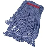 AmazonBasics Loop-End Synthetic Mop Head, 1.25-Inch Headband, Large, Blue - 6-Pack