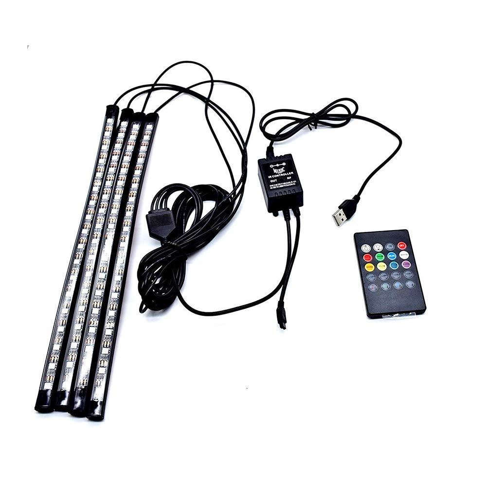Car LED Strip Light, 4pcs 48 LED Carantee, Bluetooth App Controller, Car Interior Lighting, Multicoloured Music Underdash Lighting Kits, Wireless Remote Control Light AimdonR