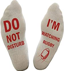 148843c1c54f Himozoo 'Do Not Disturb I'm Watching Football or Rugby' Socks Novelty Funny