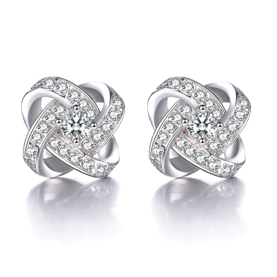 Elegant Love Knot Sterling Silver Cubic Zirconia Charm Lady Stud Earrings