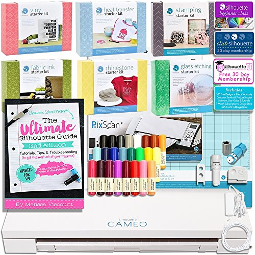 Silhouette Cameo 3 Mega Bundle with 7 Starter Kits, Ultimate Silhouette Guide Book, 24pc Sketch Pens, Fabric Blade, Pixscan, and More by Silhouette America
