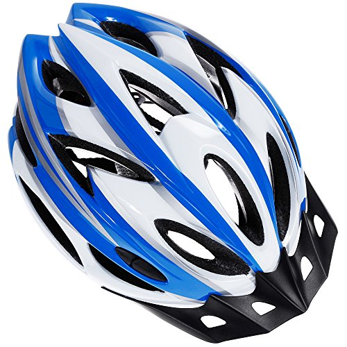 - Zacro Adult Bike Helmet, CPSC Certified Cycle Helmet, Specialized for Mens Womens Safety Protection-Blue Plus White, Bonus with a Headband