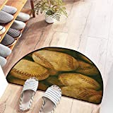 SEMZUXCVO Outdoor Doormat Vintage Decor Collection Vintage Baseball Backgorund American Sports Theme Nostalgic Leather Retro Balls Artwork Non-Slip Backing W24 x L16 Brown