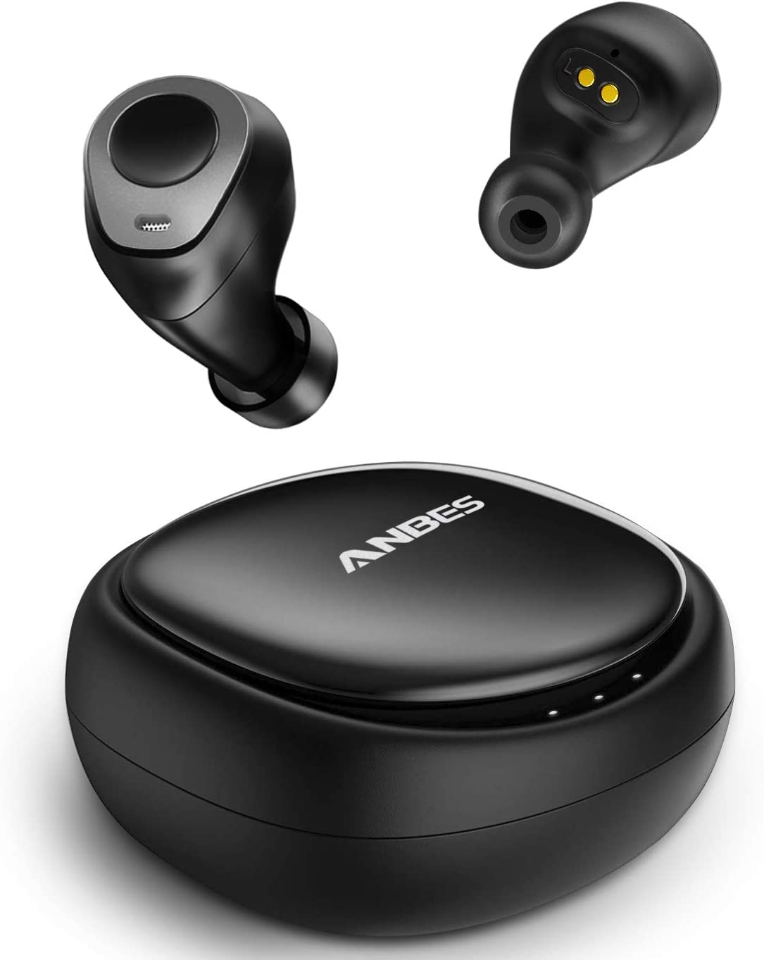 black Anbes Wireless Earbuds floating above their carrying case