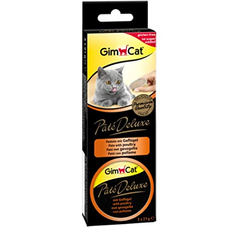 GimCat Pâté Deluxe - Snack para Gatos sin Gluten con Carne y sin azúcar añadido, 8 Paquetes (24 porciones): Amazon.es: Productos para mascotas