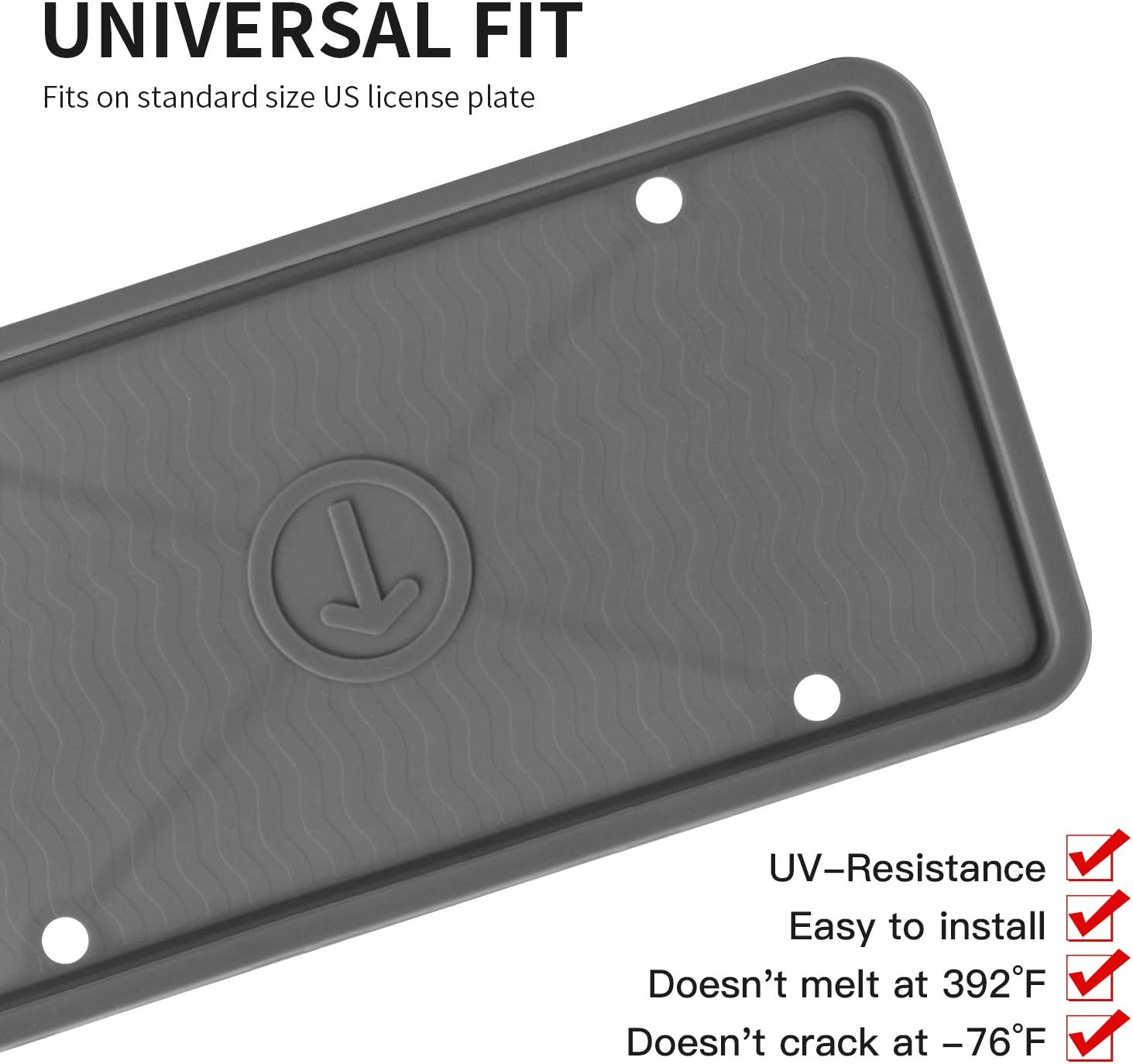 Rust-Proof,Rattle-Proof,Weather-Proof ZAKAA 1 Pack License Plate Frame,Premium Silicone Material Black