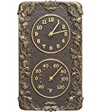 MD Group Acanthus Outdoor Thermometer and Clock, 8'' x 13.75'' x 2'' x 4.5 lbs, French Bronze