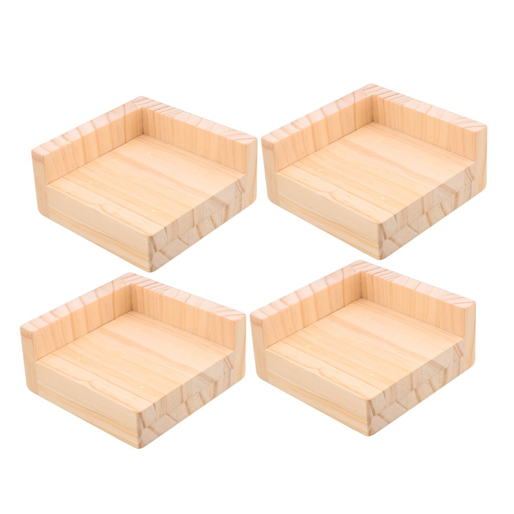 RDEXP 11.5x11.5x5.3cm L-Shaped Semi-Closed Lift Wood Bed Desk Riser Lifter Table Furniture Feet Lifts Storage Set of 4