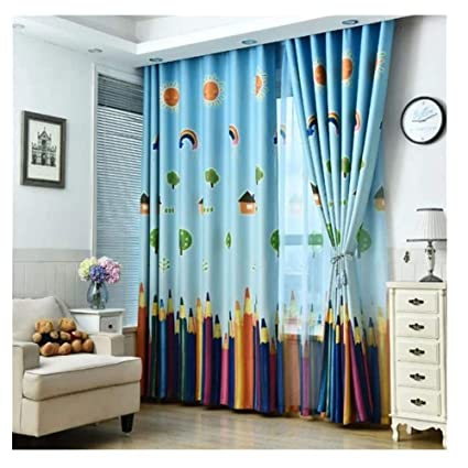 Multicolor Rainbow Pencil Window Gauze Curtain For Children Bedroom Drape Decor