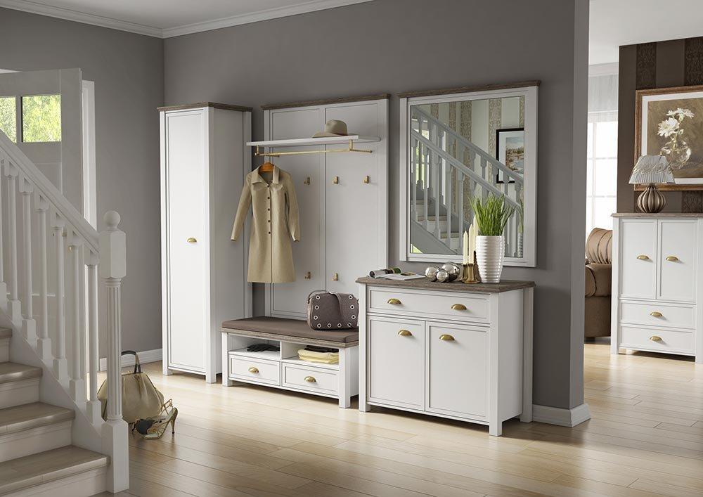 Garderobe in weiß mit Appl. in San Remo-Eiche-NB,Schrank, Bank, Kommode, Wandpaneel, Spiegel, Gesamtmaße der Garderobe: B/H/T ca. 180/193/43 cm