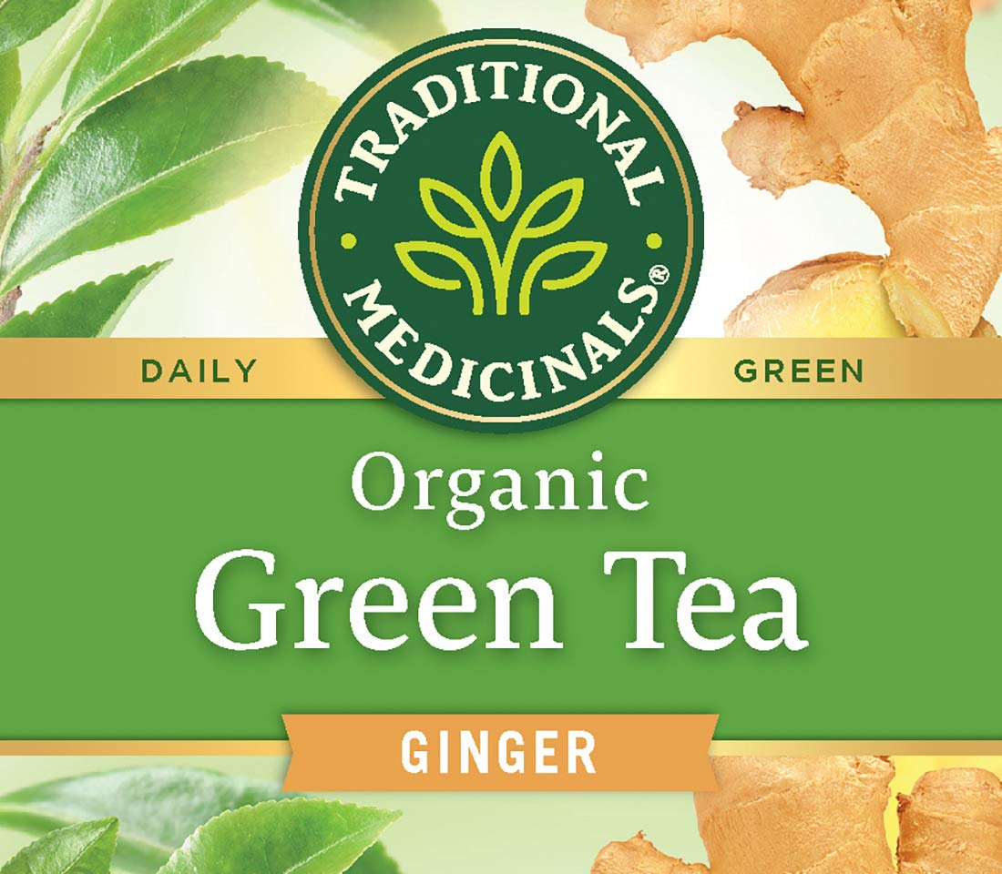 Traditional Medicinal Organic Green Tea Ginger Tea (Pack of 6), Promotes Healthy Digestion, 96 Tea Bags Total