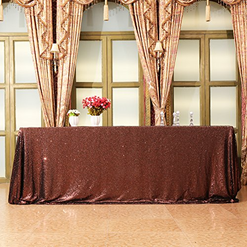 Eternal Beauty 60'' X 120'' Brown Sequin Tablecloth Wedding Banquet Party Rectangle Table Cover ()