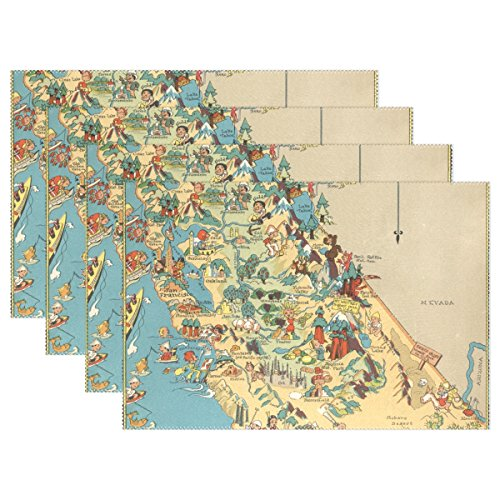 CoolPrintAll Vintage 1935 California State Map Placemat Table Mat, 12