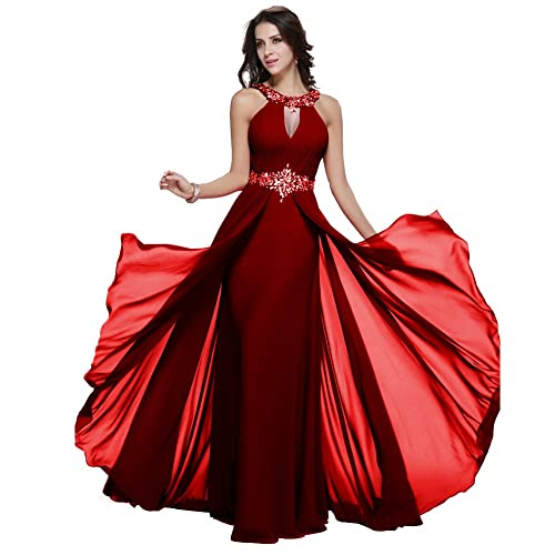 Long Chiffon Prom Dress Halter Neck Beaded Lace Up Evening Gown