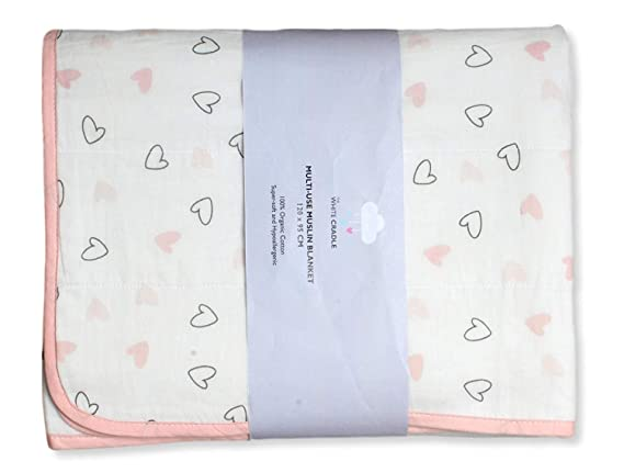 The White Cradle Organic Cotton Softest Baby Dohar/Blanket Quilt for Crib/Cot, with 3 Soft Fabric Layers, Reversible Designs, 2 Sides Printed Muslin & Center Flannel, (38 x 48 inch) - Pink Hearts