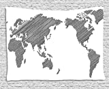 asddcdfdd World Map Tapestry, Sketchy Striped Continents Cartography Geography Countries Worldwide Art, Wall Hanging for Bedroom Living Room Dorm, 60 W X 40 L Inches, Charcoal Grey White