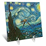 3dRose dc_164649_1 Starry Night by Van Gogh Vintage-Desk Clock, 6 by 6-Inch