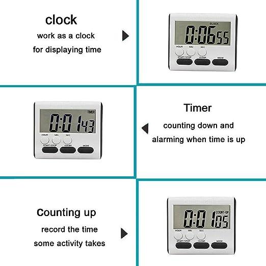 SCOBUTY Minuteur Cuisine,Time Timer,Timer Digital,Minuterie Num/érique /à LED /à Compte /à Rebours Magn/étique avec Alarme Sonore R/églable et Fonction de M/émoire pour Cuisiner et /étudier Le Sport