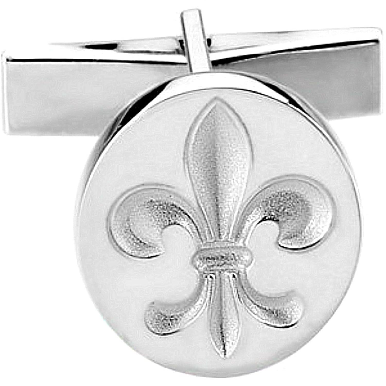Sterling Silver Fleur De Lis Round Cuff Link (Single Cuff Link), 16.25MM