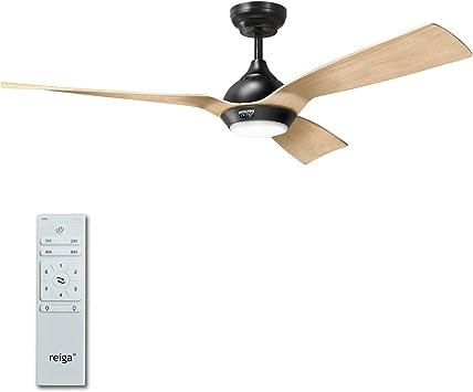 Reiga - Ventilador de techo con luz y mando a distancia (52 ...