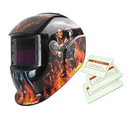 Máscara de Mate Solar Oscurecimiento Automático de Soldadura Por Arco TIG Casco de Soldador Mig -