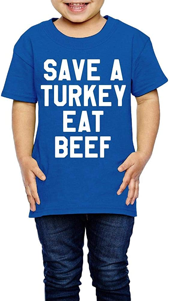 Thanksgiving Day 2-6 Years Old Kids Short Sleeve Tee Shirt Save A Turkey Eat Beef