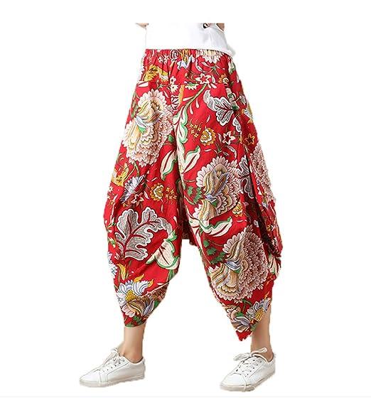 GZHGF Pantalones Harem De Algodón Y Lino/Pantalones De Linterna Pantalones De Yoga/Pilates -Pintura,Red-OneSize(Waist60cm-112cm/23.6