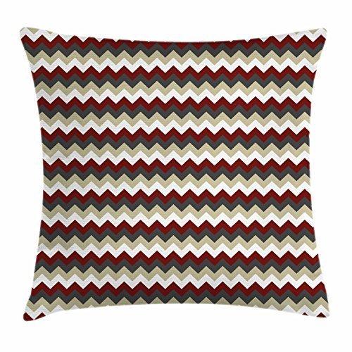 (YICHIBAOEL Chevron Throw Pillow Cushion Cover, Chevron Pattern with Vivid Color Scheme Stripes Design Modern Geometric, Decorative Square Accent Pillow Case, 18 X 18 Inches, Burgundy Grey Eggshell)
