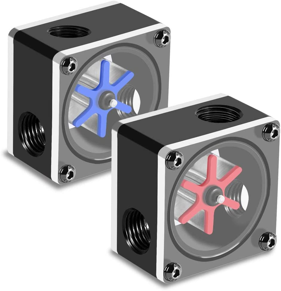 BiuZi Flow Meter 6 Impeller 3 Ways G1//4 Thread Flow Meter Indicator for Computer Water Cooling System
