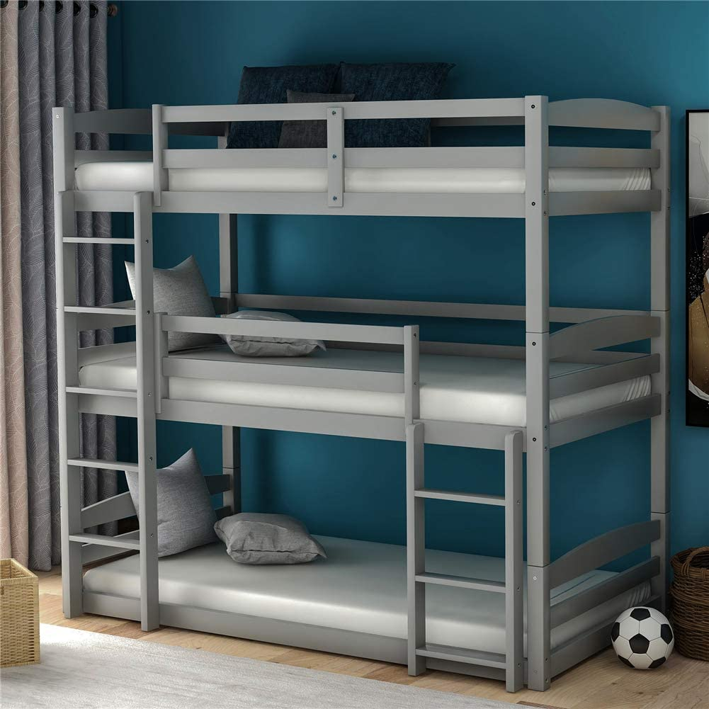 Amazon Com Wood Triple Bunk Beds For Kids Toddlers Twin Size 3 Bunk Bed Frame With Built In Ladders Can Be Divided Into 3 Separate Beds Gray Kitchen Dining