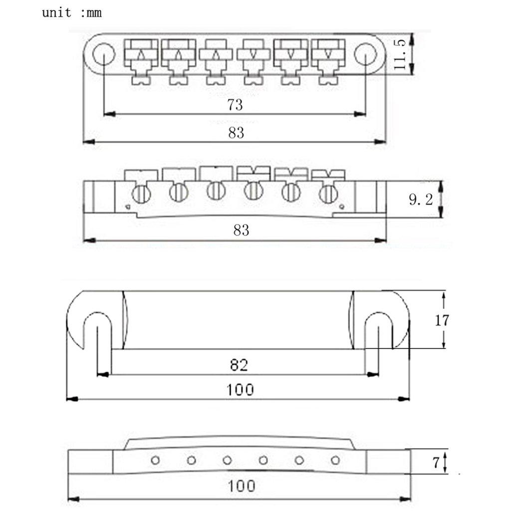 Noir B Blesiya Kit Chevalet Pont Selle /à Rouleaux Cordier Sillet en Alliage de Zinc Pi/èces Remplacement pour Les Paul Epi Guitare Electrique