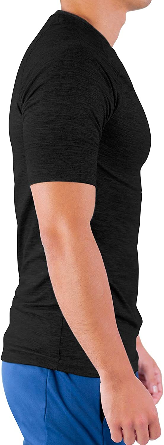 Quick Dry Short Sleeve Running Fitness Performance T-Shirt Black Hydrafit Contour Athletics 5-Pack Mens