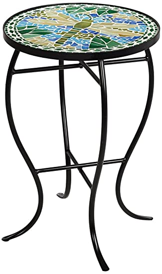 Amazon.com: Dragonfly Mosaic Black Iron Outdoor Accent Table: Home ...