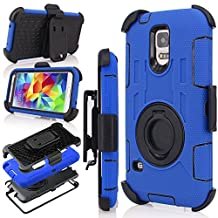 Galaxy S5 Case, S5 Case, Jwest Shockproof Hybrid Rugged Samsung Galaxy S5 Case Rubber Three Layer Holster Case for Samsung Galaxy S5 with Built-in Rotating Stand and Belt Swivel Clip Blue/Black