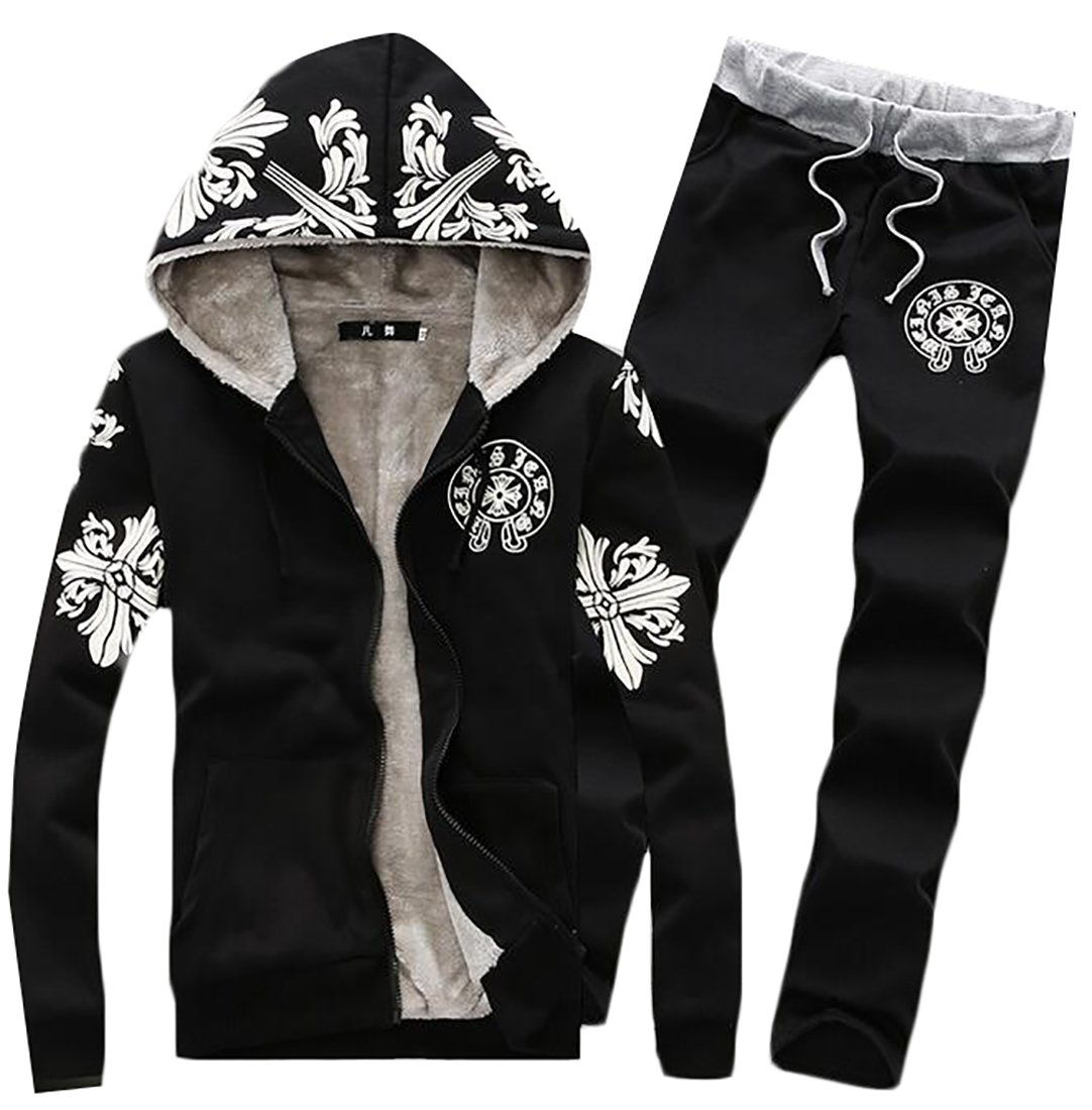 Pandapang Mens Athletic Print Hooded Jacket and Sweatpants Tracksuits Set Black X-Large