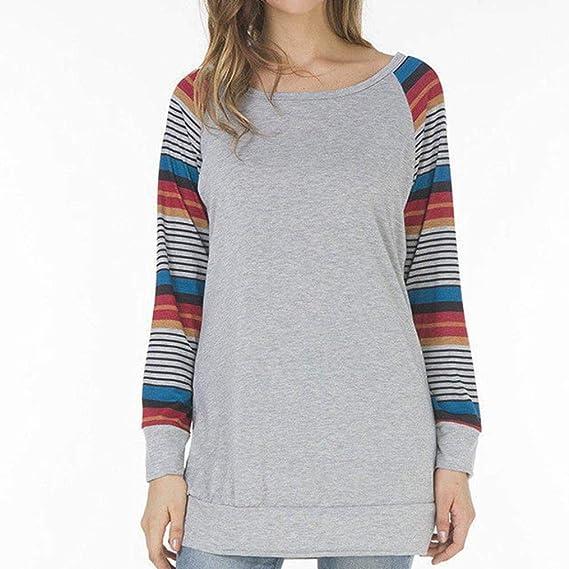 ... Otoño Camiseta Top de Manga Larga con Cuello Redondo a Rayas para Mujer Pulóver Camisas Tapas Suéter de la Blusa Tops: Amazon.es: Ropa y accesorios