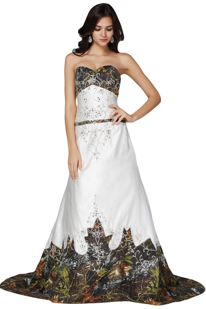 MILANO BRIDE Unique Strapless Embroidery Beads Camo Wedding Dress Prom Gown-8-Pic-Color