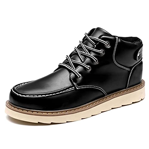 ZLY Mens Leather Sneakers High Top Casual British Style Shoes Black 7in