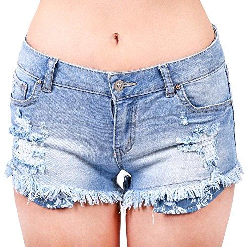 (Wax Women's Juniors Denim Shorts w Heavy Frayed Hem Light Denim Size)