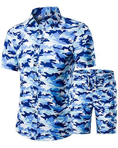 Men Hawaiian Shirt Pants Sets - Floral Button Down Tops Summer Shorts Outfit US 2XL