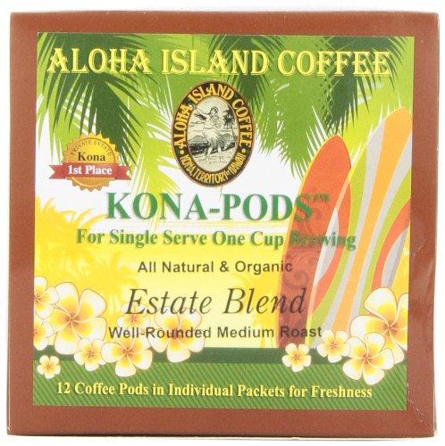 Blend Estate Aloha Island - Aloha Island Coffee KONA-POD, Estate Blend Medium Roast, Kona & Hawaiian Coffee Blend, 12-Count Coffee Pods